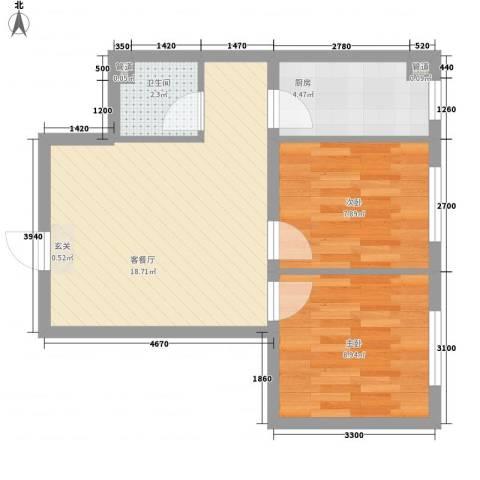 君海・朗郡2室1厅1卫1厨60.00㎡户型图