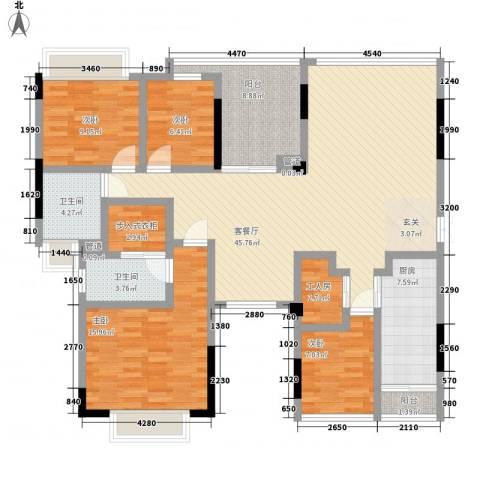 雅郡花园4室1厅2卫1厨171.00㎡户型图