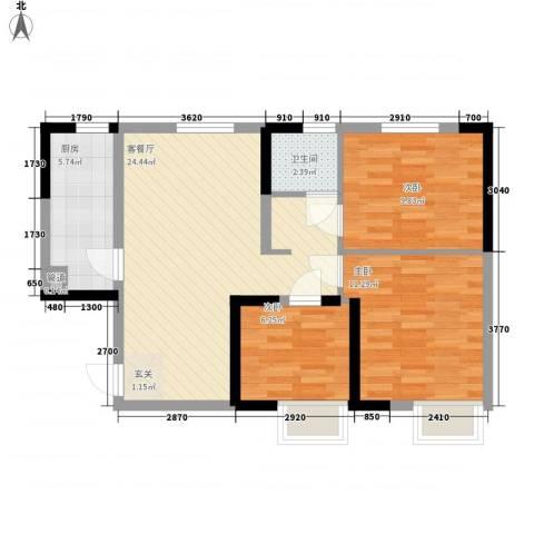 蓝光星华・海悦城3室1厅1卫1厨86.00㎡户型图