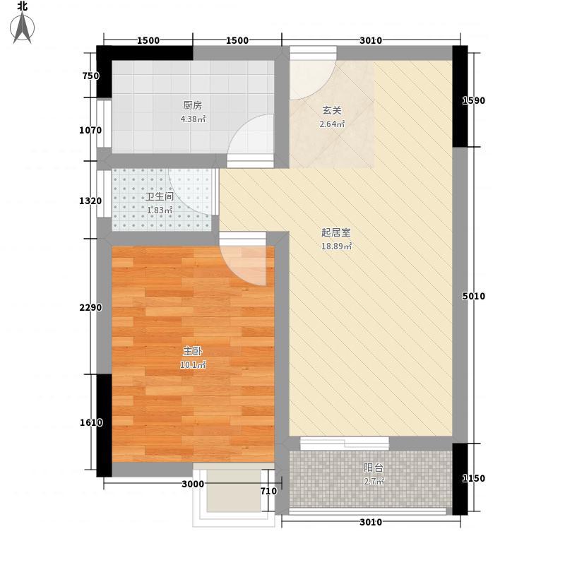 同创鸥翔云湖郡47.46㎡A2型-3、4号楼户型1室1厅1卫1厨