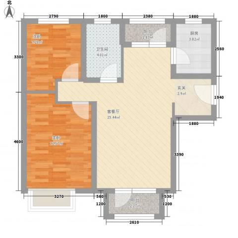 秦皇岛华润橡树湾2室1厅1卫1厨83.00㎡户型图