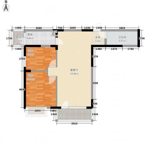 沿海赛洛城二期2室1厅1卫1厨101.00㎡户型图