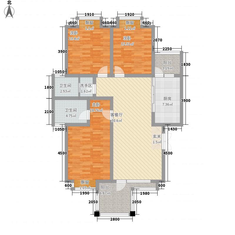 兴隆枫丹白鹭106.27㎡枫锦组团106.27㎡三房户型3室2厅2卫1厨