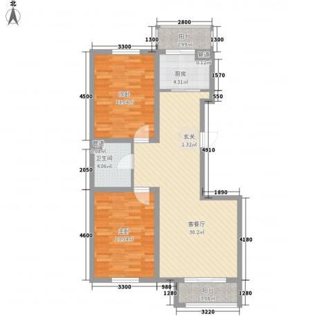 君海・朗郡2室1厅1卫1厨95.00㎡户型图