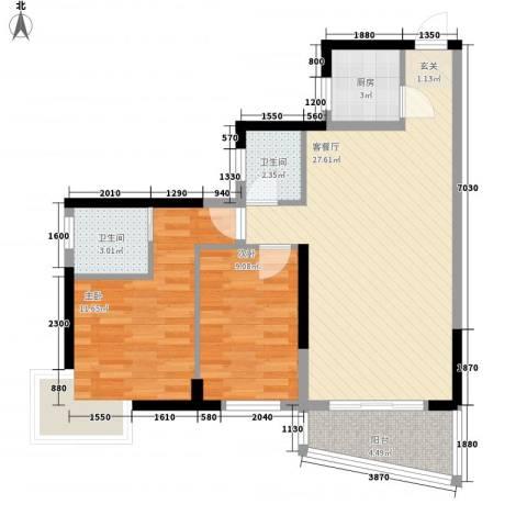 鸿信大厦2室1厅2卫1厨222.00㎡户型图