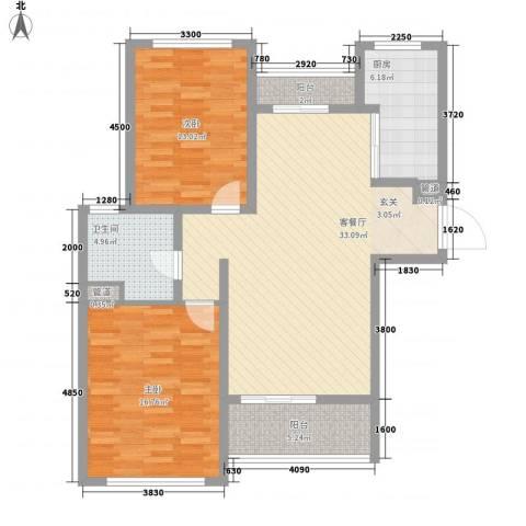 金海广场2室1厅1卫1厨117.00㎡户型图