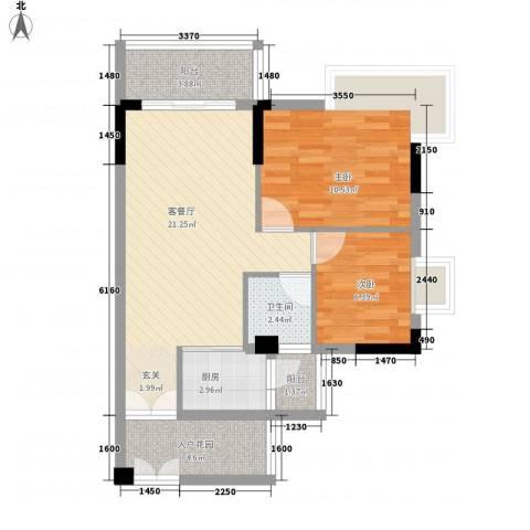 格林尚坊花园2室1厅1卫1厨78.00㎡户型图