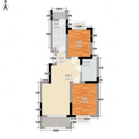 中惠・卡丽兰2室1厅1卫1厨85.00㎡户型图