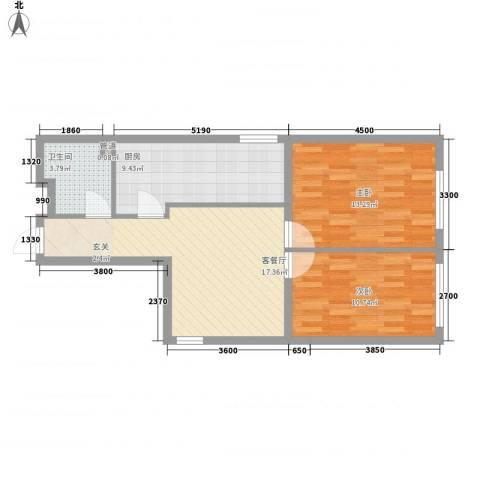 阳光馨苑2室1厅1卫1厨82.00㎡户型图