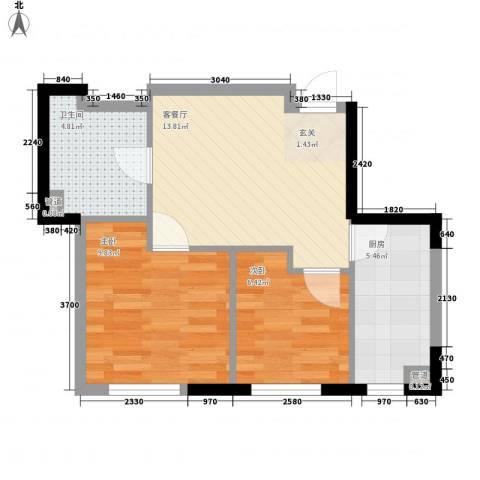 阳光馨苑2室1厅1卫1厨65.00㎡户型图