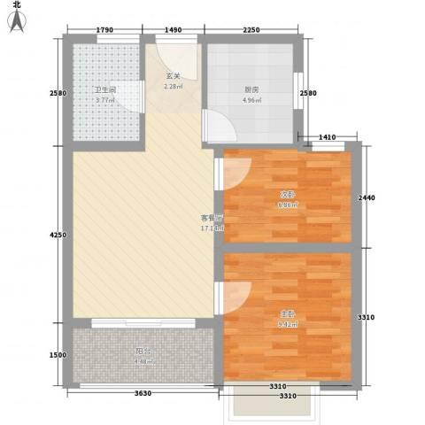 大华锦绣华城2室1厅1卫1厨68.00㎡户型图