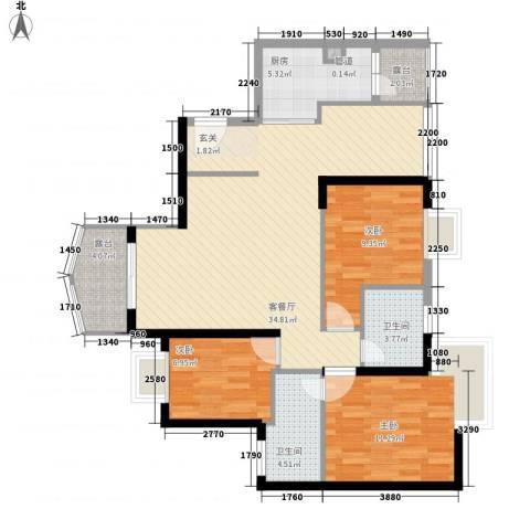 嘉辉豪庭3室1厅2卫1厨117.00㎡户型图