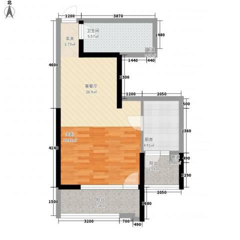 沿海赛洛城二期1厅1卫1厨58.00㎡户型图