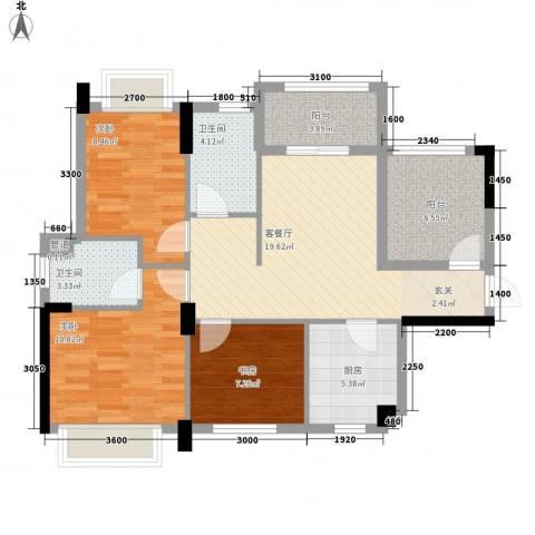 龙光・水悦龙湾3室1厅2卫1厨91.00㎡户型图