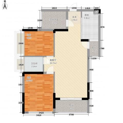 招商观园住宅2室1厅1卫1厨104.00㎡户型图