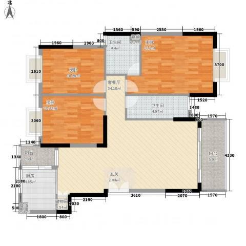 国税凤凰花园3室1厅2卫1厨132.00㎡户型图