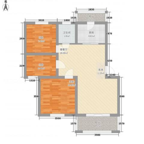 复兴园3室1厅1卫1厨94.00㎡户型图