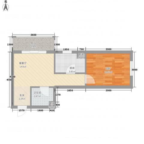 君海・朗郡1室1厅1卫1厨48.00㎡户型图