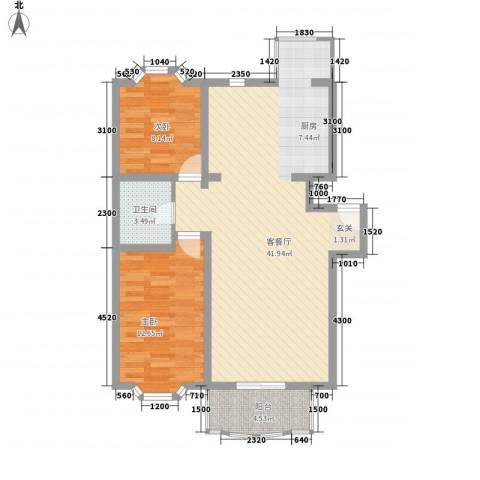 京南嘉园2室1厅1卫0厨70.74㎡户型图