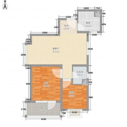 万科金色家园2室1厅1卫1厨95.00㎡户型图
