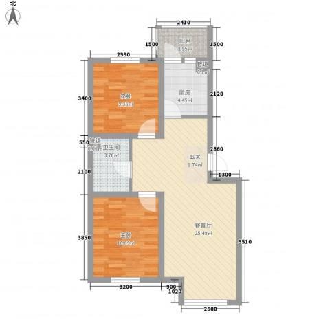 君海・朗郡2室1厅1卫1厨80.00㎡户型图