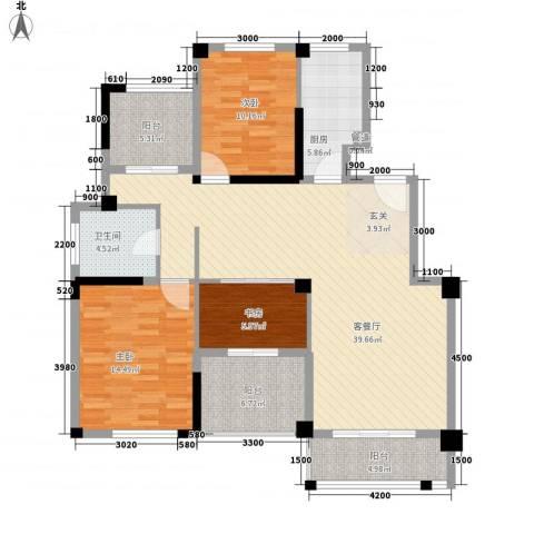 越通美院3室1厅1卫1厨140.00㎡户型图