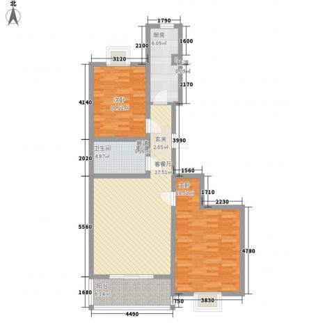 理想城小区2室1厅1卫1厨108.00㎡户型图