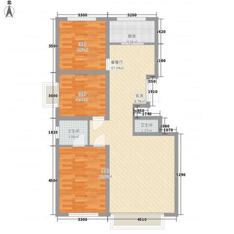 中房小区3室1厅2卫1厨110.00㎡户型图