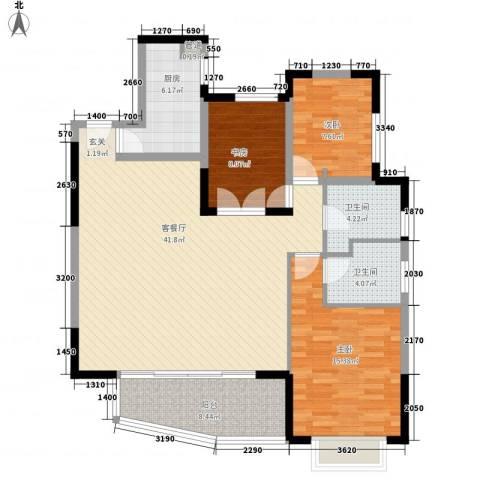 万科金色家园3室1厅2卫1厨138.00㎡户型图