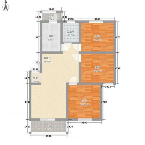 复兴园3室1厅1卫1厨112.00㎡户型图