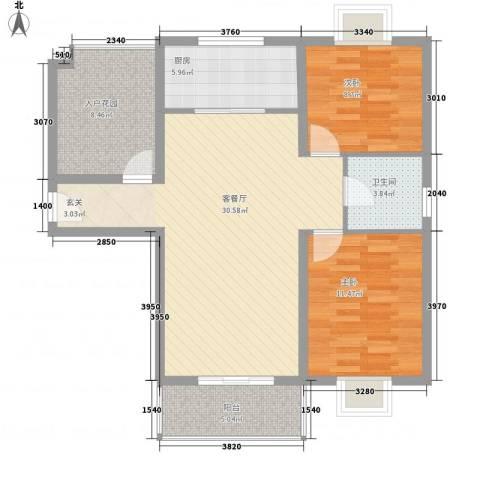 禹洲花园二期2室1厅1卫1厨105.00㎡户型图