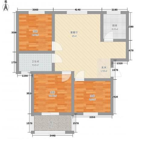 复兴园3室1厅1卫1厨96.00㎡户型图