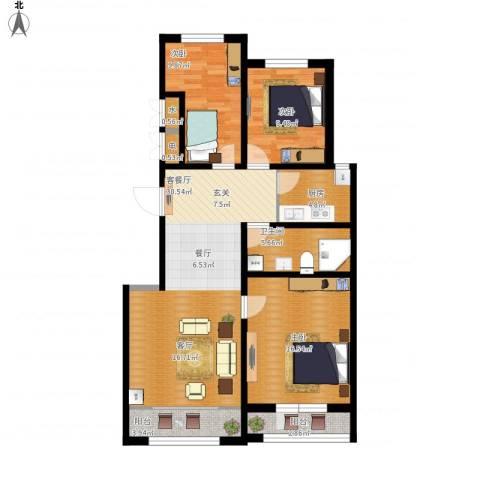 香江铂朗明珠3室1厅1卫1厨122.00㎡户型图