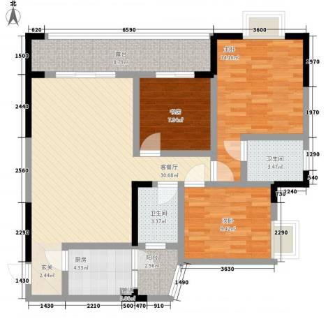 圣地阳光3室1厅2卫1厨84.69㎡户型图