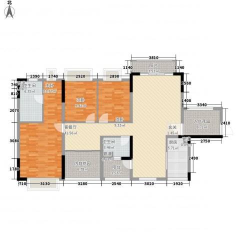 保利香槟花园3室1厅2卫1厨144.00㎡户型图