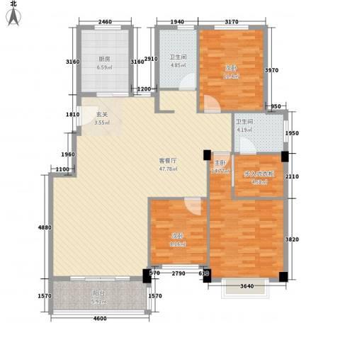 金色港湾3室1厅2卫1厨108.22㎡户型图