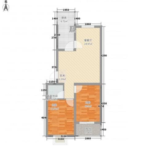 阳光蓝岸2室1厅1卫1厨84.00㎡户型图