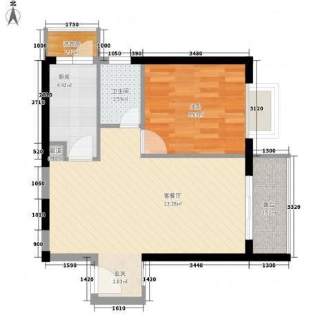 嘉辉豪庭1室1厅1卫1厨64.00㎡户型图