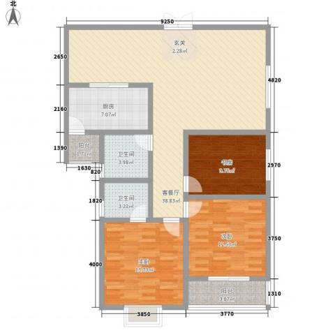 华融公寓3室1厅2卫1厨135.00㎡户型图
