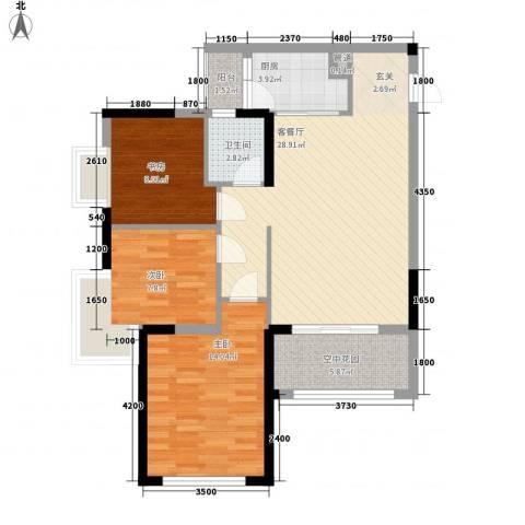 布鲁明顿广场3室1厅1卫1厨73.02㎡户型图