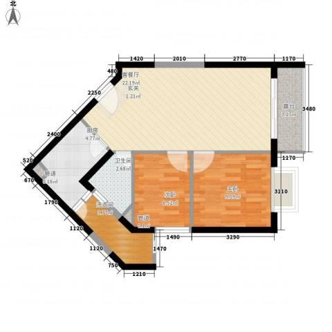 嘉辉豪庭2室1厅1卫1厨75.00㎡户型图