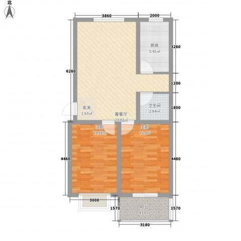 阳光蓝岸2室1厅1卫1厨86.00㎡户型图
