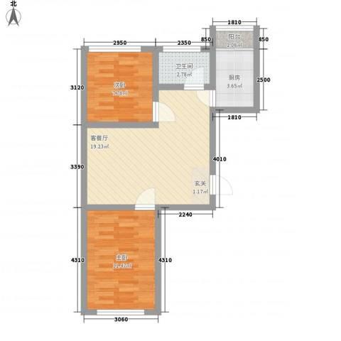 龙泰富苑2室1厅1卫1厨68.00㎡户型图