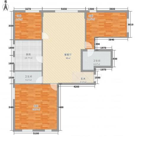 阳光馨苑3室1厅2卫1厨110.77㎡户型图