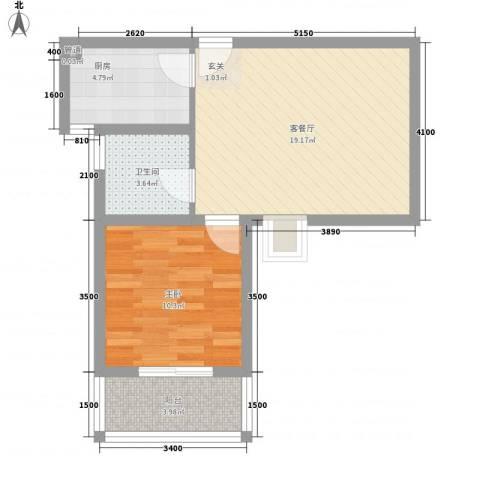 书香门第1室1厅1卫1厨61.00㎡户型图