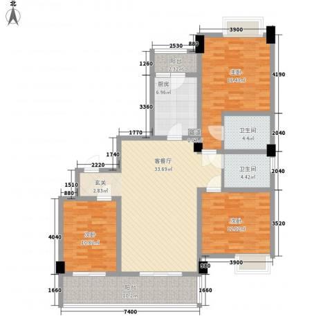 南都邻秀3室1厅2卫1厨125.00㎡户型图