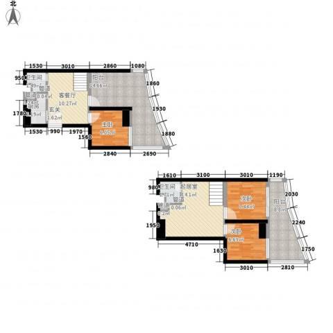 万泽国际3室1厅2卫1厨73.95㎡户型图