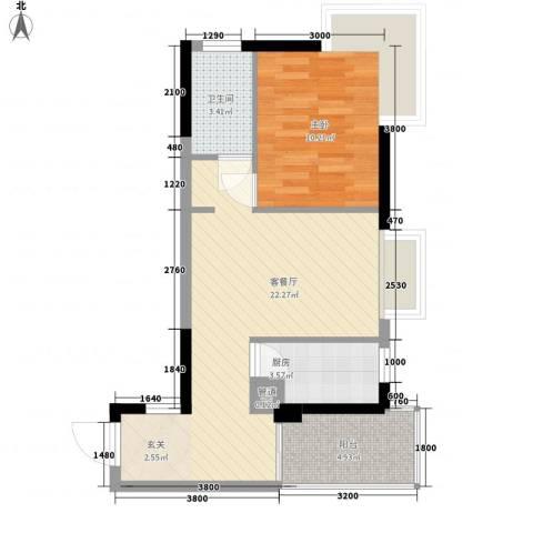 布鲁明顿广场1室1厅1卫1厨56.00㎡户型图