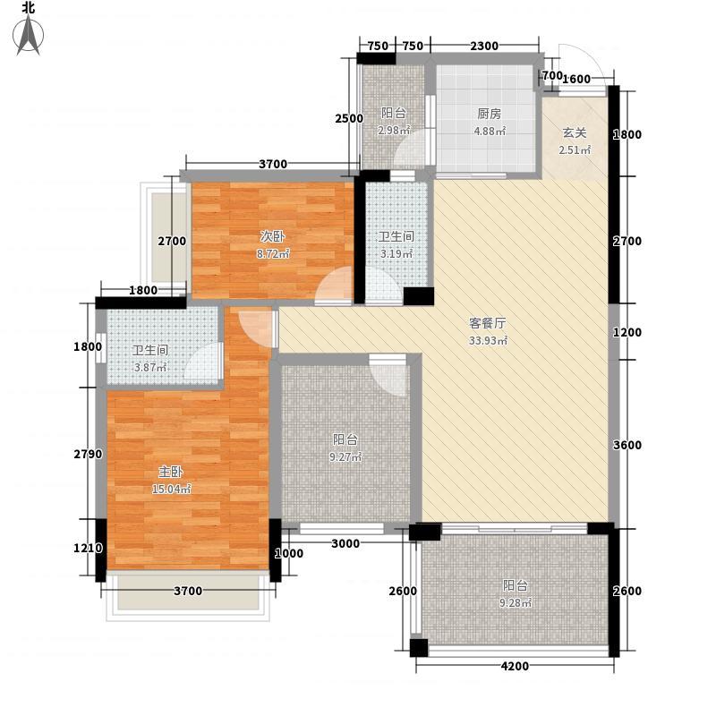 新会骏景湾豪庭12.42㎡碧水蓝天8座标准层03户型2室2厅2卫1厨