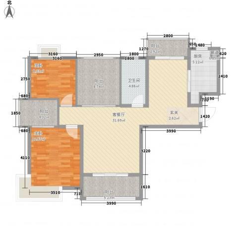 景隆现代城2室1厅1卫1厨106.00㎡户型图
